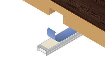 Double-sided tape for mounting of LED-profiles Most of the companies which distributes some LED-profiles offers mechanical fasteners. Our reference 34100, double-sided tape with polyester fabric carrier and high tack synthetic rubber adhesive offers an excellent adhesion to most surfaces, even to LSE material.Moreover it can hold heavy loads and can replace nails or screws.